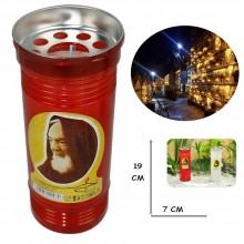 Lumino votivo T.50 19 Cm extra Santo Padre Pio Candela cera bianca lume