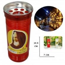 Lumino votivo T.60 19,5 Cm extra Santo Padre Pio Candela cera bianca lume