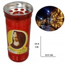 Lumino votivo T.80 19,5 Cm extra Santo Padre Pio Candela cera bianca lume