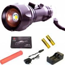 Torcia tattica con zoom e funzione lampeggiante dotata di segnalatore batterie caricatore da rete e da auto e laccio da polso