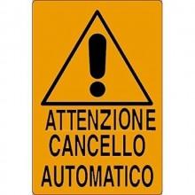 12x Cartello Attenzione cancello automatico 20x30Cm arancione in PVC segnaletica