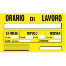12x Cartello Orario di lavoro Entrata Riposo Uscita 20 x 30 Cm arancione in PVC