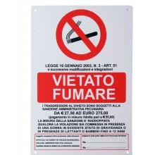 12x Cartello Vietato fumare Legge 16 Gennaio 2003 20 x 30 Cm arancione in PVC