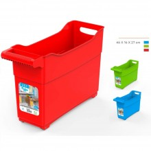 CESTO DISPENSA CONTENITORE TROLLEY IN PLASTICA CON RUOTE COLORATA 46x16x27 CM