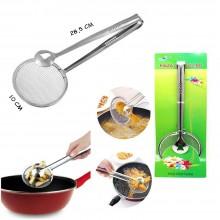 Schiumarola con pinza a molla colino frittura utensili cucina patatine acciaio