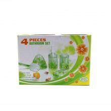 Set Bagno 4 Pz design floreale porta sapone scopino dispenser sapone porta spazzolini
