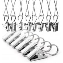 Gancio per tende con clip confezione da 24 in acciaio inox mollette 35 x 10 mm