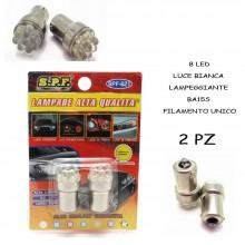 LAMPADE 8 LED LUCE BIANCA LAMPEGGIANTE BA15S FILAMENTO UNICO AUTO