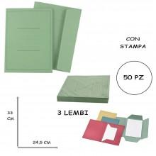 CARTELLA ARCHIVIAZIONE 3 LEMBI 25 x 33 CM LINEA ECO PIGNA CON STAMPA 50PZ