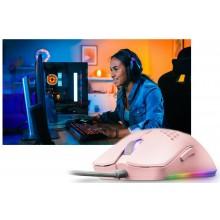 Mouse rosa gioco cablato ambidestro GAMING RGB illuminato LED leggero 6 Pulsanti