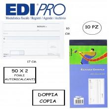 BLOCCO RICEVUTE GENERICHE 9X17 CM DOPPIA COPIA AUTORICALCANTI BOX 10 PEZZI