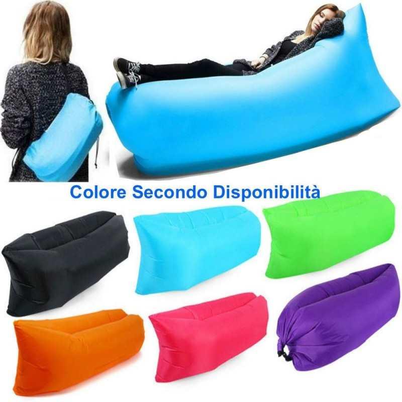 Sofà lettino gonfiabile materassino pouf a sacco letto ad aria sdraio portatile