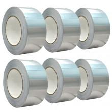 6 pezzi Nastro adesivo in alluminio 10M x 4.8cm resistente al calore guarnizione autoadesiva isolante conduttore