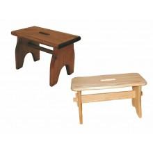 Sgabello in legno massello abete colore naturale o noce H 20.8cm made in Italy