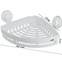 Mensola da bagno doccia angolare in plastica con ventose cestino portaoggetti 252x252mm