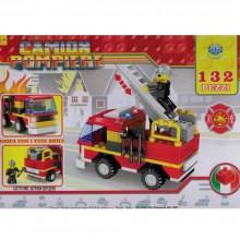 Costruzioni giocattolo per bambini camion dei pompieri con personaggio 132 PZ 3+