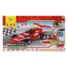Costruzioni giocattolo per bambini auto da corsa con personaggio 144 PZ 3+