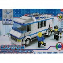 Costruzioni giocattolo per bambini camion pronto intervento con 2 personaggi 134pz 3+