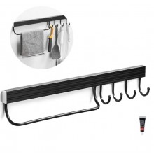 Porta coltelli da parete in acciaio portaoggetti cucina nero 40 cm 6 ganci
