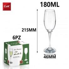 Set bicchieri calici da champagne COK Zar Flute 6 calici in vetro