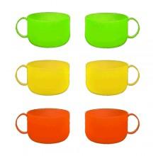 Set 6 tazze tazzone tazza colazione in plastica 3 colori sunny 600 cc famiglia
