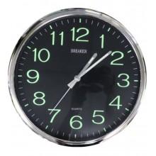 Orologio Da Parete Tondo nero numeri fluorescenti 25cm Diametro Breaker 231-6