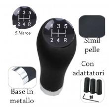 Pomello cambio universale con adattatori 5 marce base metallo simil pelle auto