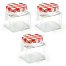 Vaso barattolo boccaccio base quadrata vetro 60 ml con tappi x alimenti conserve