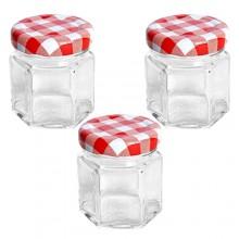 Vaso barattolo boccaccio base esagonale vetro 45 ml con tappi x alimenti conserve