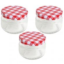 Vaso barattolo boccaccio base circolare vetro 140 ml con tappi x alimenti conserve