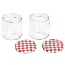Vaso barattolo boccaccio base circolare vetro 350 ml con tappi x alimenti conserve