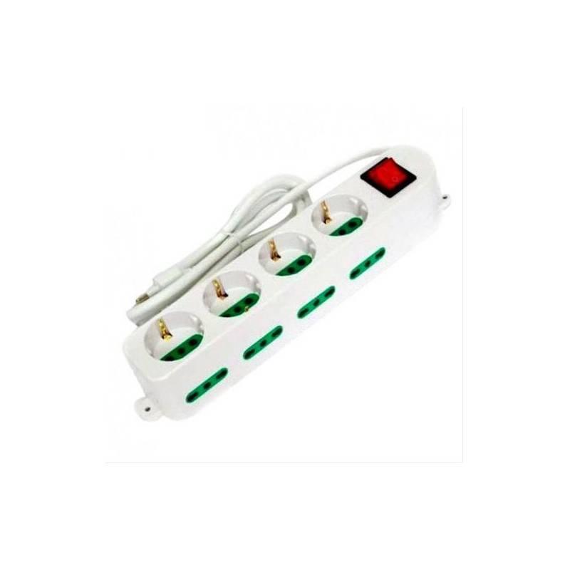 Multipresa ciabatta elettrica 12 posti 4 schuko+8 bipasso prese da 220V con interruttore colore bianco