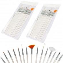 2 set 15 pennelli di precisione manicure ricostruzione decorazione unghie nail