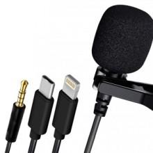 Microfono lavalier lighting aux miscro usb smartphone cellulare registrare interviste voce