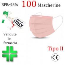 100x MASCHERINE TIPO II CERTIFICATE CE COLORE ROSA monouso Naso Bocca viso