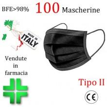 100x MASCHERINE TIPO II CERTIFICATE CE COLORE NERO monouso Naso Bocca viso