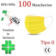 100x MASCHERINE TIPO II CERTIFICATE CE COLORE GIALLO monouso Naso Bocca viso