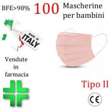 100x MASCHERINE TIPO II BAMBINI CERTIFICATE CE ROSA monouso Naso Bocca viso