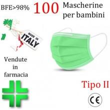 100x MASCHERINE TIPO II BAMBINI CERTIFICATE CE VERDE monouso Naso Bocca viso
