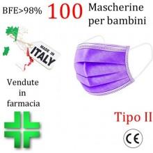 100x MASCHERINE TIPO II BAMBINI CERTIFICATE CE VIOLA monouso Naso Bocca viso
