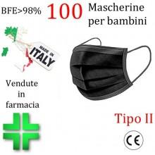100x MASCHERINE TIPO II BAMBINI CERTIFICATE CE NERA monouso Naso Bocca viso