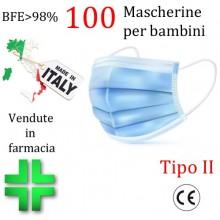 100x MASCHERINE TIPO II BAMBINI CERTIFICATE CE CELESTE monouso Naso Bocca viso