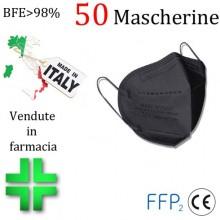 50x MASCHERINE FFP2 ITALIANE CERTIFICATE CE COLORE NERO monouso Naso Bocca viso