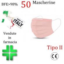 50x MASCHERINE TIPO II CERTIFICATE CE COLORE ROSA monouso Naso Bocca viso