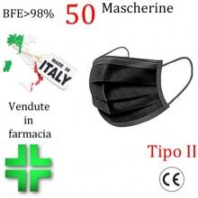 50x MASCHERINE TIPO II CERTIFICATE CE COLORE NERO monouso Naso Bocca viso