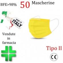 50x MASCHERINE TIPO II CERTIFICATE CE COLORE GIALLO monouso Naso Bocca viso