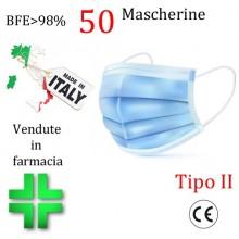 50x MASCHERINE TIPO II CERTIFICATE CE COLORE CELESTE monouso Naso Bocca viso