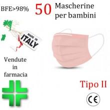 50x MASCHERINE TIPO II BAMBINI CERTIFICATE CE ROSA monouso Naso Bocca viso