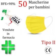 50x MASCHERINE TIPO II BAMBINI CERTIFICATE CE GIALLO monouso Naso Bocca viso