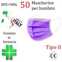50x MASCHERINE TIPO II BAMBINI CERTIFICATE CE VIOLA monouso Naso Bocca viso